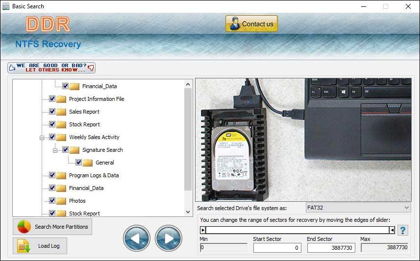 NTFS Hard Drive Files Recovery Tool screen shot