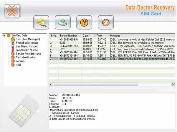 Undelete tool rescue deleted SIM memory data